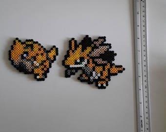 Pokemon: Sandshrew/Sandshrew, Sandslash/Sandslash made of hama bead.
