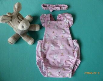 Baby Girl Romper and matching headband