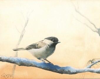 Black-capped Chickadee watercolor print