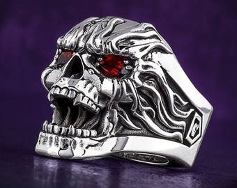 Skull Ring handmade Silver .925 with 2 Rubies