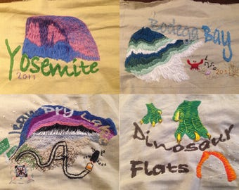 One-of-a-kind Hand Embroidered Family Camping Trip Quilt Panels