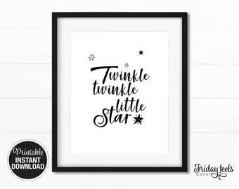 Twinkle twinkle little star Nursery wall art black & white boy kids room poster digital print download