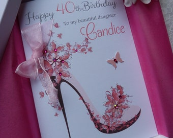 Handmade Personalised Luxury Birthday Card Boxed Stiletto Shoe  Any Age & Recipient  C 312