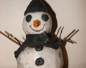 White raku snowman