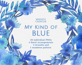 My kind of blue Watercolor Clipart Blue Flowers Floral Bouquets Wreaths Digital Floral Wedding Invitation