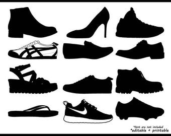 shoes heels snekaers boots silhouette in svg, png, eps file format, cricut monogram editable printable instant download