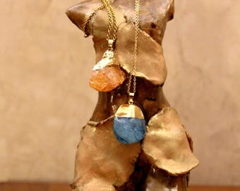 necklace, crystal, stone, gold,  orange, ocean blue, gems, ,gift,handmade, woman and man