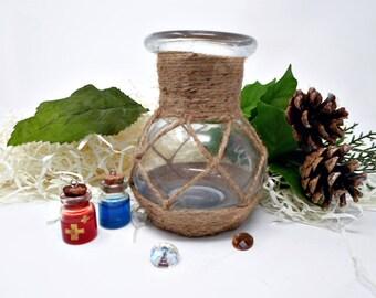 Alchemy Bottle, Apothecary Bottle, Potion Bottle, Alchemy Bottle with Jute, LARP Bottle, Glass Bottle, Potion Jar Decor, Jute Potion Vase