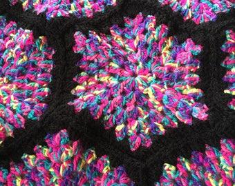 Handmade multicoloured hexagon crochet blanket/throw Unicorn colours