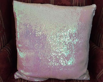 Elegant Silver Sequins Accent Pillow!  New!