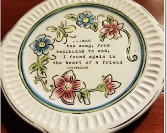 Grassland's Road Tidbit Dish - Longfellow quote