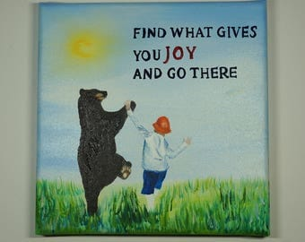 Find what gives you joy and go there-oil painting hand painted-paint-inspirational quote-Positive quote-law of attraction-loa
