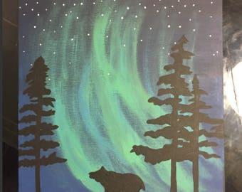 Bear and Northern Lights