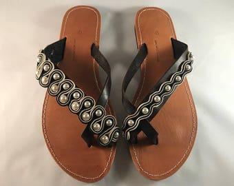 "Niko & Alexander"" Luxury Greek Handmade Embroidered Leather Sandals Model ""Athena"""