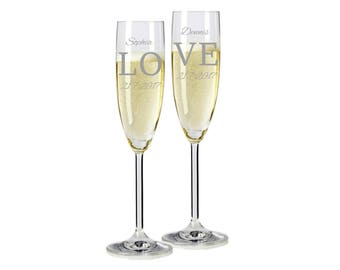 "2 Leonardo champagne glasses with personalized engraving ""love"" bride/Groom with name and date engraved wedding gift"