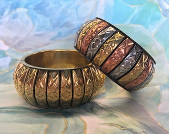 Set of 2 Mixed Metal Bangle Bracelets Artisan Made in India