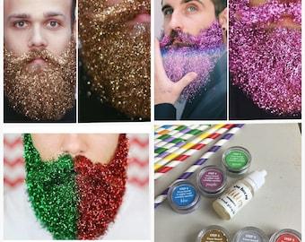 Glitter Beard Kit, Beard Glitter/GlitterBeard. 6 Different Colours Set! Party, Festival etc