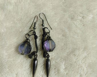Iridescent spike drop earrings