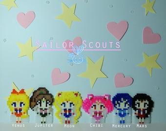Sailor Moon / Mercury/ Mars/ Jupiter/ Venus/ Chibi - Keychain, Brooch, Necklace, Magnets - Hama beads / Sprites