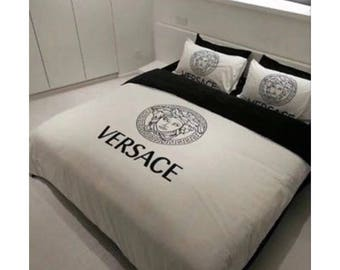 Js black and white suede Bedding Set Versace inspired