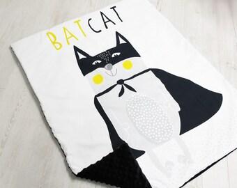 Minky Blanket, BatCat, Premium Blanket,Baby Minky Blanket,Pink Blanket,Baby Girls,Cot Pram Blanket, Baby Shower Gift, Nursery Bedding