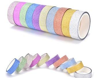 Glitter washi tape masking adhesive tape- set of 10