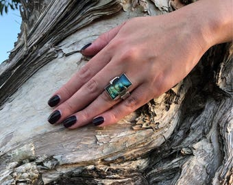 Labradorite Ring , Sterling ~ fits a 6/6.5
