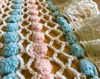 Sweet Vintage Crochet Baby Blanket- Gender Neutral in Pink and Blue- Free Shipping!