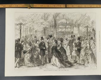 Fashionable Promenade and Concert in the Champs Elysees, Paris Large Antique Engraving