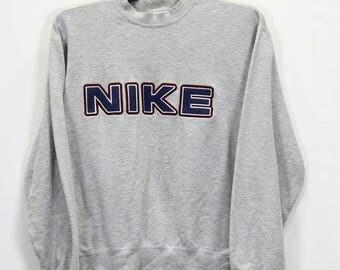 Rare Vintage Nike Spell Out Logo Nike Sweatshirt Medium size Gray Color