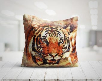 Beautiful Tiger Art Best Pillow Gifts, 18x18 Throw Pillow with Tiger, Tiger Lover Gift, Animal Gifts For Her, Made in USA