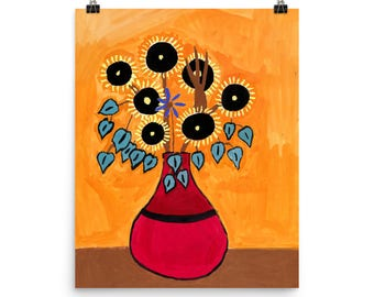 Sunflowers in a Red Vase - Beautiful Archival Cotton Rag Fine Art Giclée Print Supporting the Nonprofit Fresh Artists