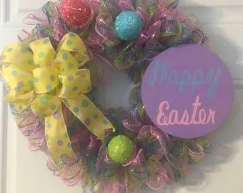 Easter wreath, Front door Wreath, Easter Decor, Deco Mesh Wreath, Spring Wreath
