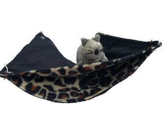 Rat Hammock - Rat Cage Accessories - Animal Print Double Decker Snuggle Hammock - Sugar Glider Hammock