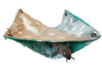 Rat Hammock- Rat Cage Accessories - Seahorse Grey teal Double Decker Snuggle Hammock- Sugar Glider Hammock