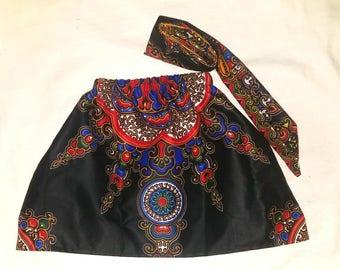 African skirt/kente skirt/African babygirl clothes/baby set/Head wrap/Newborn clothes/African clothing/Ankara skirt/Kente Fabric/Girl skirt/