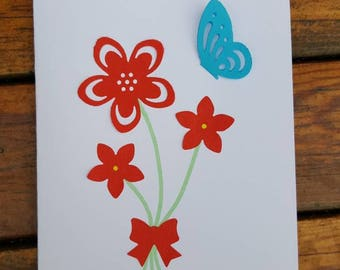 Handmade cards, Birthday cards - handmade flowers and butterfly happy Birthday, blank card.
