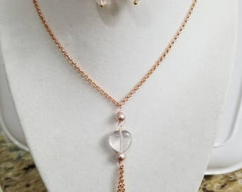 Rose Quartz & Fresh Water Pearl Necklace with matching earrings,Classy Girlfriend Gift, Valentines Gift