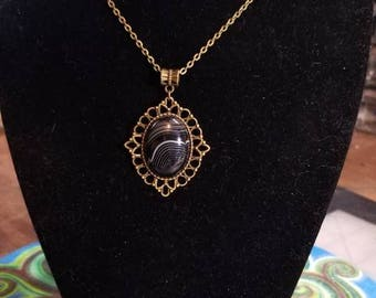"""18"""" Black Banded Agate cabochon necklace"""
