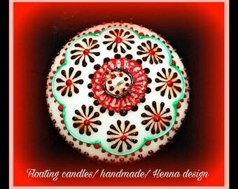 10 pack-Handmade floating decorative henna design candles