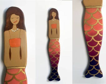 Mermaid Wall Art - Hand Painted Brunette Mermaid with Orange and Red Ombre with Gold Fish Scale fin - Mermaid Decor