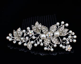 9cm Fancy glitter Metal Silver Plated Rhinestone Rose Flower Leaf White Pearl