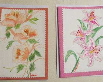 Handmade Greeting Card, Set of 2 hand painted All Occasion Greeting Cards, Floral Greeting Cards, Made in the USA, #32