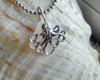 Sea glass Octopus necklace /sea glass jewelry /Sea glass charm necklace / beach glass necklace/ white sea glass/ seaglass / charm necklace