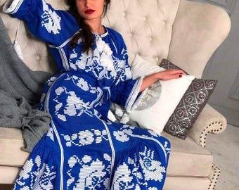 Vyshyvanka Dubai Dress Clothing Gift Long Sleeve Wedding Dress Custom Bohemian Blue Linen Boho Dress Abaya Vishivanka Ukrainian Embroidery