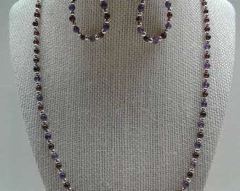 Amethyst and Garnet Necklace Earring Set SW-1