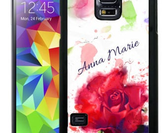 Personalize Rubber Case For Samsung Note 3, Note 4, Note 5, or Note 8- Rose Watercolor Red Green