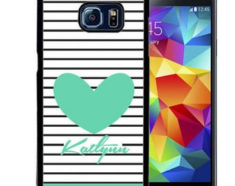 Personalized Rubber Case For Samsung S5, S6, S6 edge, S6 Edge Plus, S7, S7 Edge,  8, 8 plus -  Stripes Teal Heart