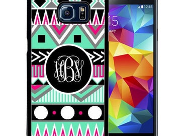Monogrammed Rubber Case For Samsung S5, S6, S6 edge, S6 Edge Plus, S7, S7 Edge,  8, 8 plus - Black Pink Teal Aztec