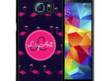 Personalize Rubber Case For Samsung Note 3, Note 4, Note 5, or Note 8- Navy Pink Flamingos